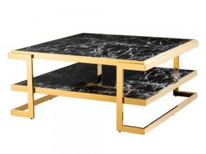 Bàn sofa mặt đá chân inox mạ vàng 0019