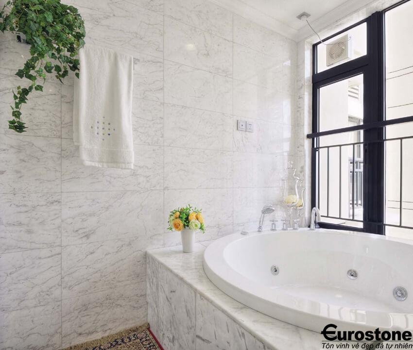 Làm sạch đá marble ốp tường phòng và nền nhà tắm.