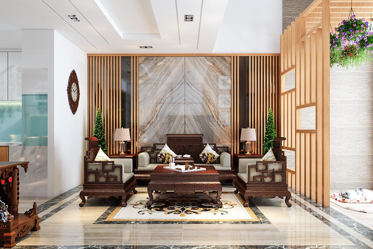 Đá trang trí phòng khách theo phong cách hiện đại hoặc cổ điển.