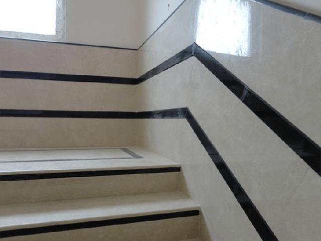 Đá Marble (Cẩm Thạch) Crema Barla ốp cầu thang