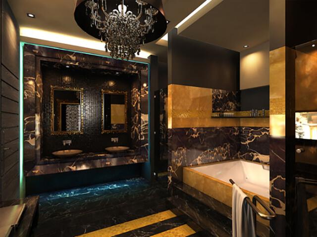 Đá Marble (Cẩm Thạch) Golden Portoro ốp nhà tắm