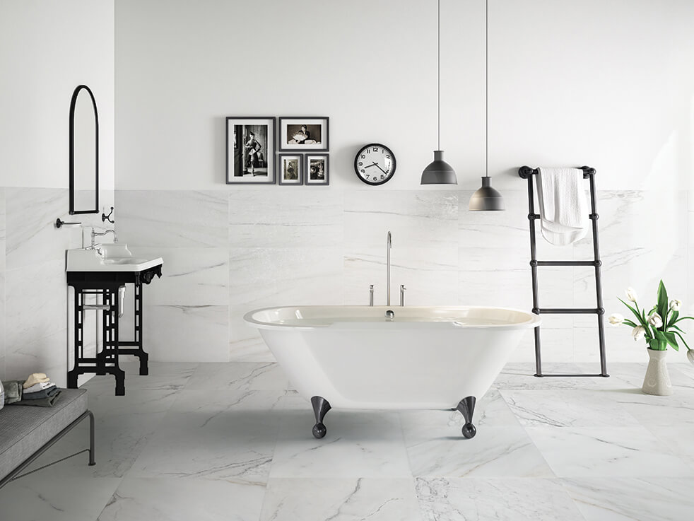 Đá cẩm thạch Polaris tự nhiên ốp phòng tắm