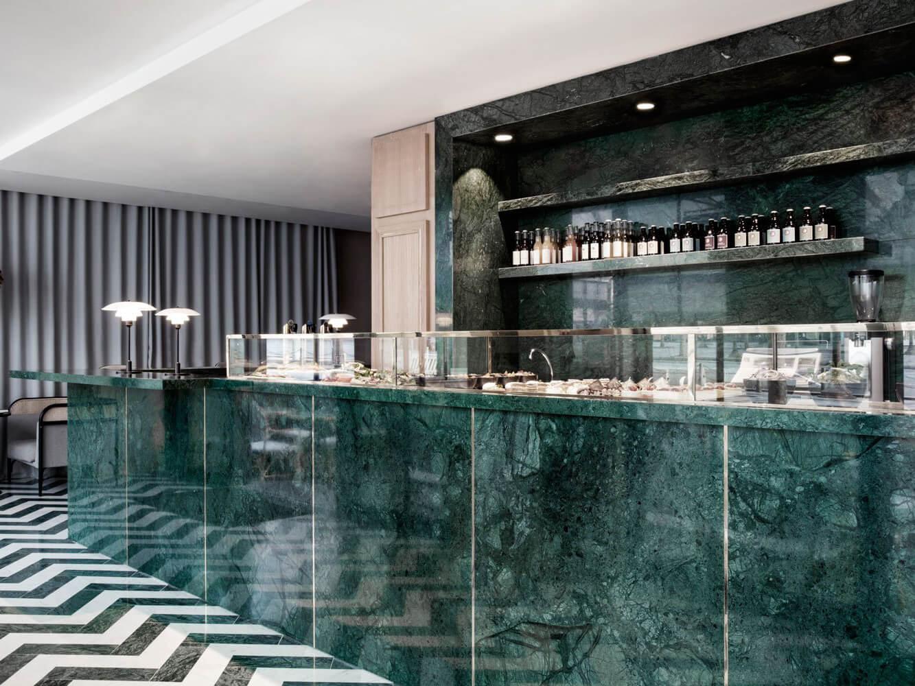 Quầy bar Đá Marble tự nhiên India Green (Xanh Napoli)