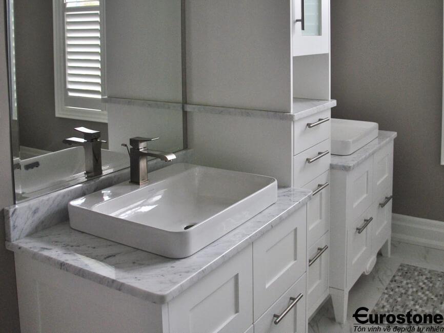 bàn lavabo Đá Marble 'Cẩm Thạch' Carrara