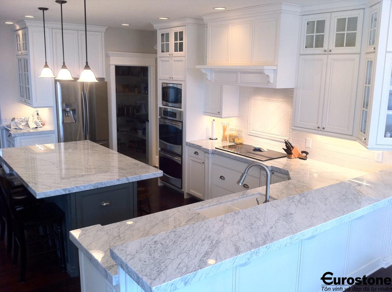 Đá Marble 'Cẩm Thạch' Carrara ốp bếp