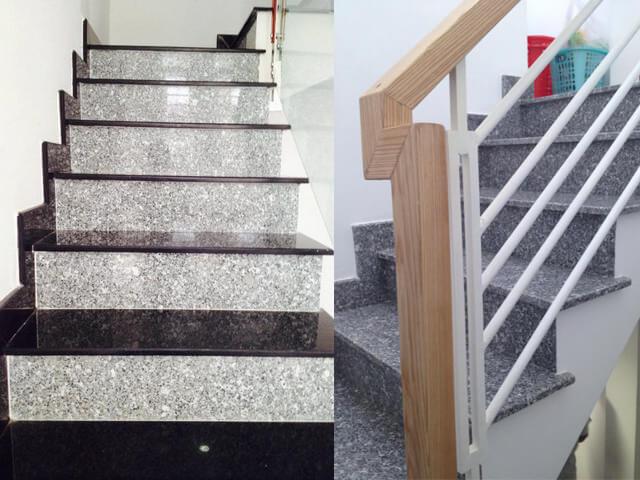 Đá Granite Trắng Suối Lau ốp cầu thang