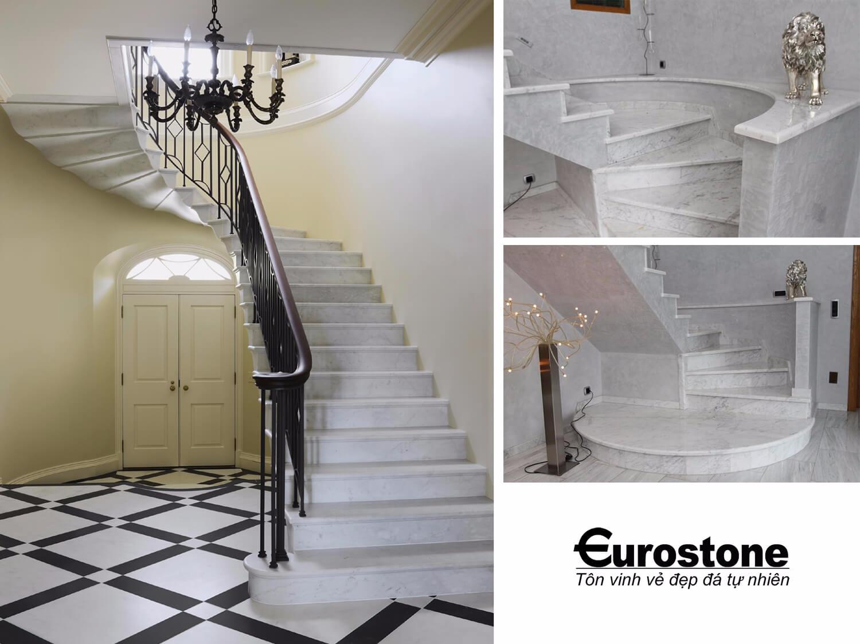 Đá Marble 'Cẩm Thạch' Carrara ốp cầu thang