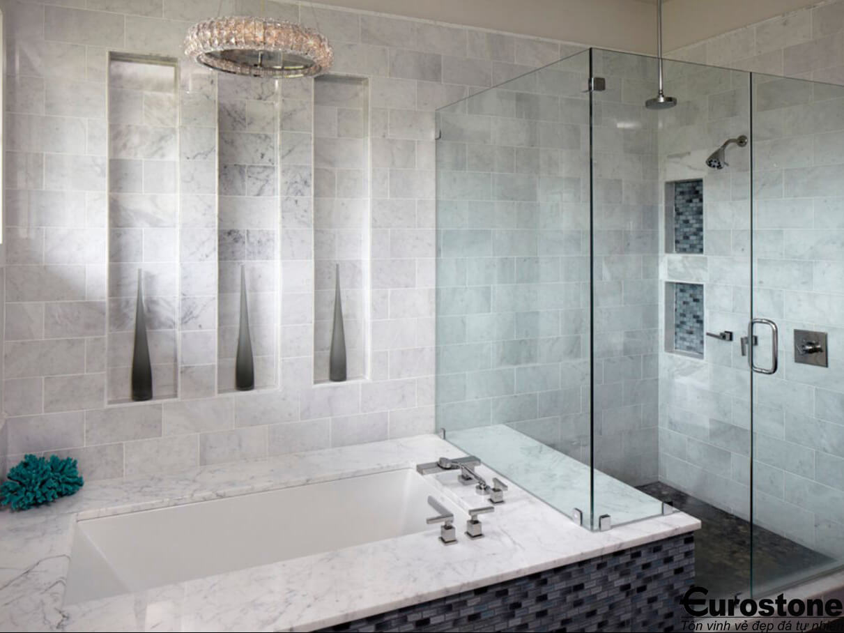 Đá Marble 'Cẩm Thạch' Carrara ốp nhà tắm