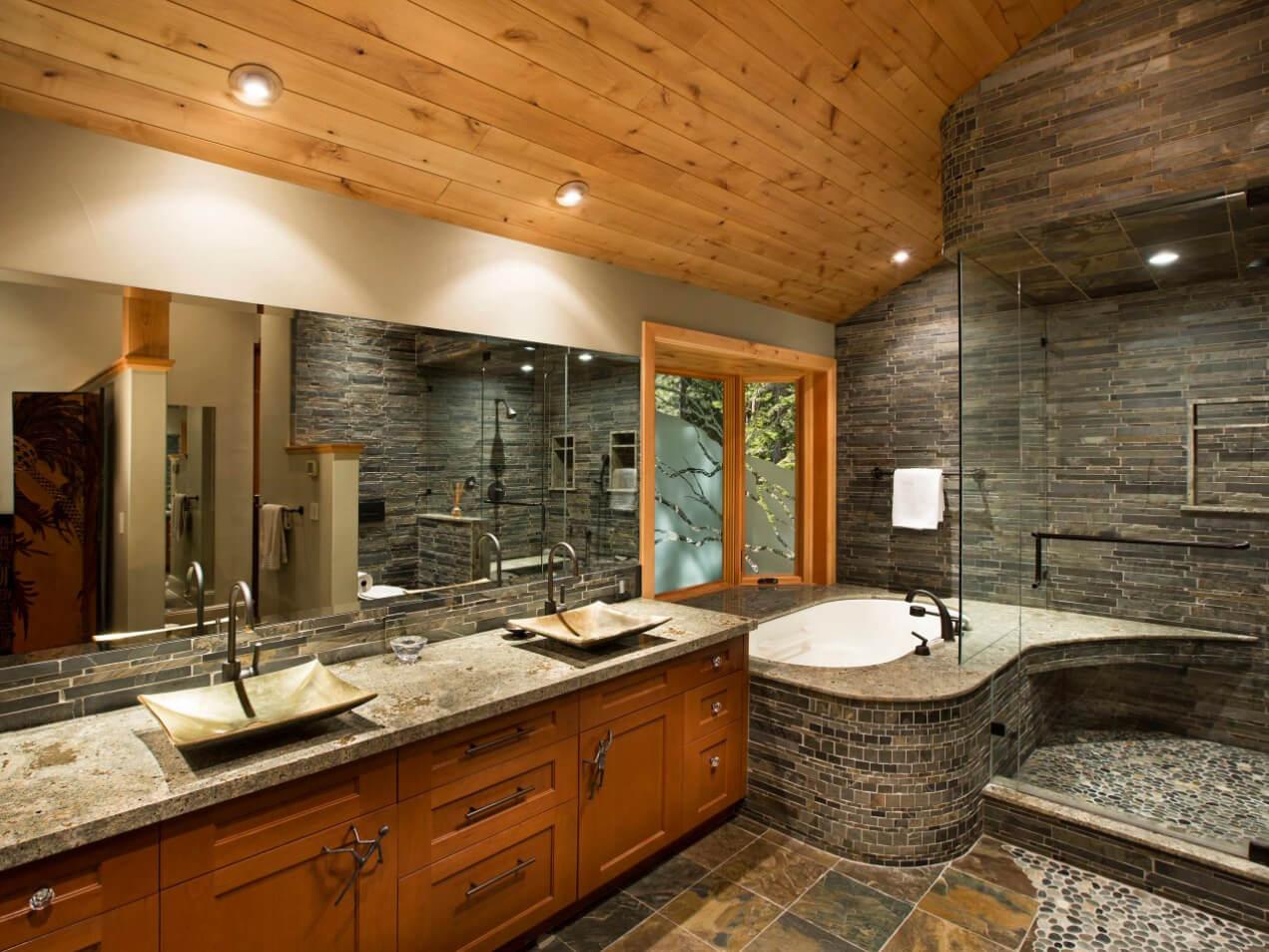 Đá Granite River Bordeaux ốp phòng tắm