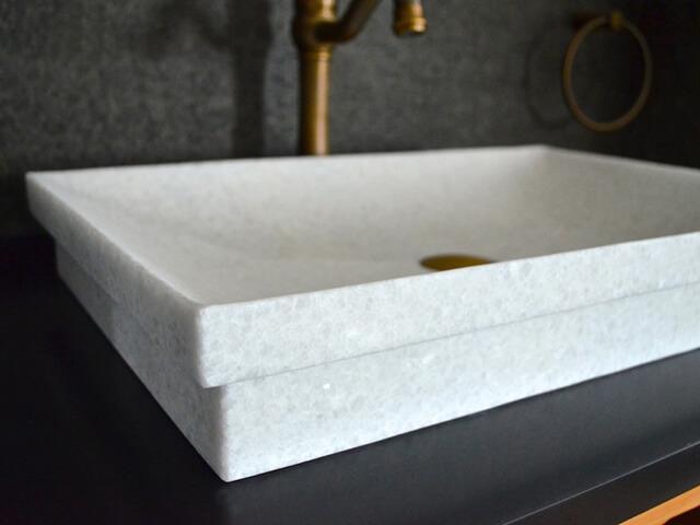 bàn lavabo Đá Marble 'Cẩm Thạch' Crytal white