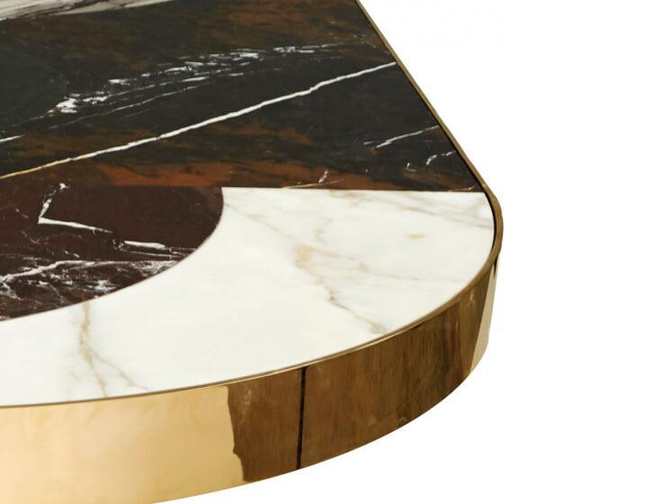 Bàn ăn đá kết hợp inox mạ màu 0019