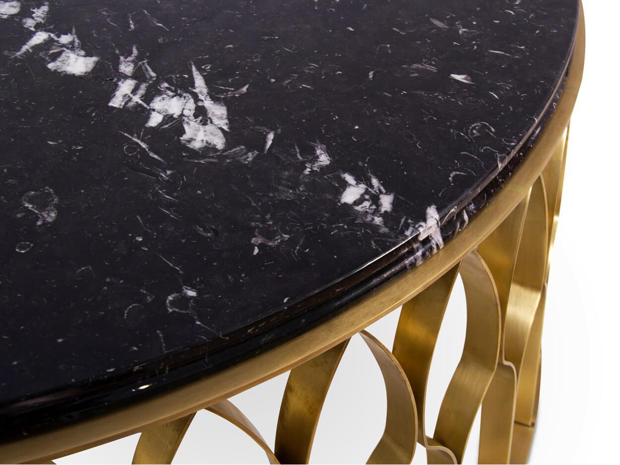 Bàn sofa mặt đá chân inox mạ vàng 0004