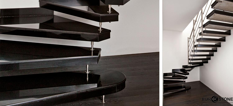 Đá Granite Absalute Black ốp cầu thang
