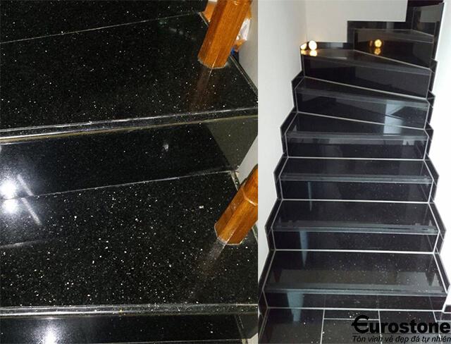 Đá Granite(Kim Sa Trung) Black Galaxy ốp cầu thang