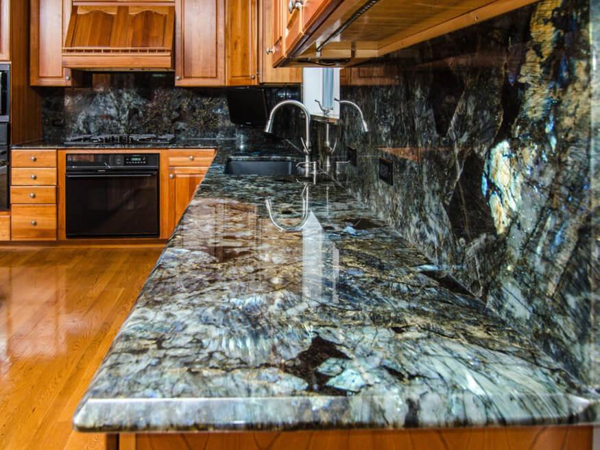 Đá tự nhiên Granite Blue Jade ốp bếp