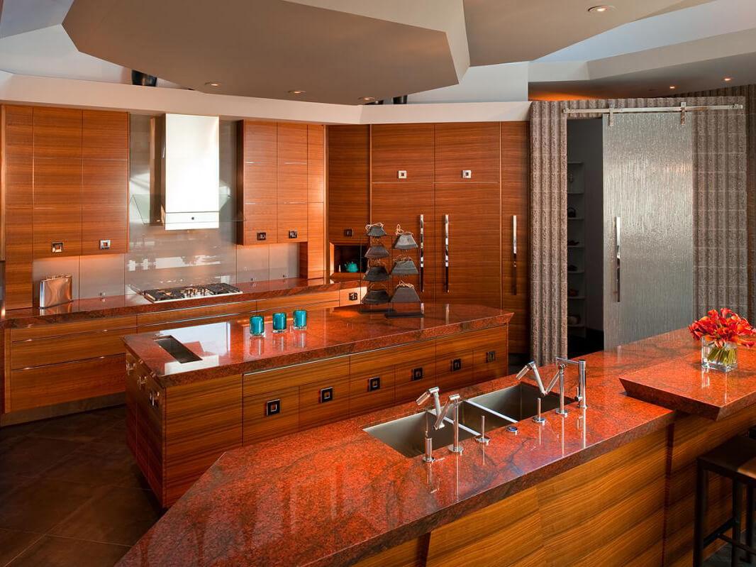 Đá Granite tự nhiên New Imperial Red ốp bếp