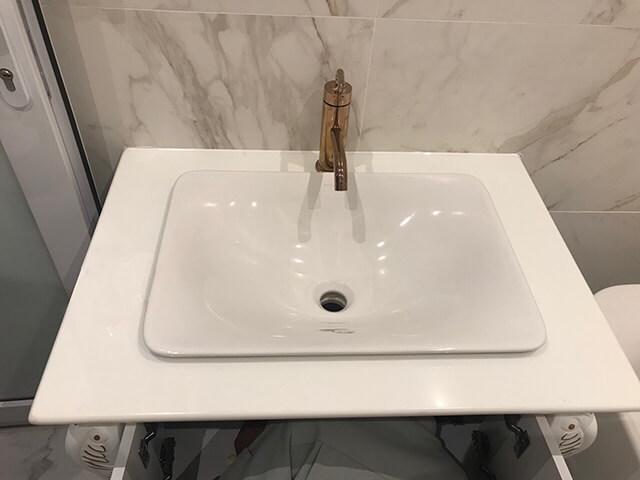 bàn lavabo Đá Trắng Sứ Nhân Tạo (Diamond White)
