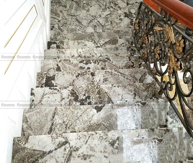 Đá Granite Azul White ốp cầu thang