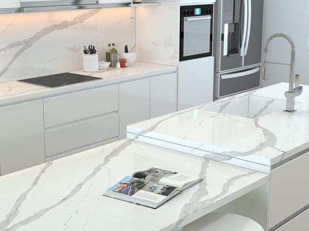 Đá quartz Arabescato ốp bếp