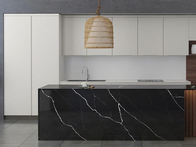 Đá quartz Nergo Marquina ốp bếp